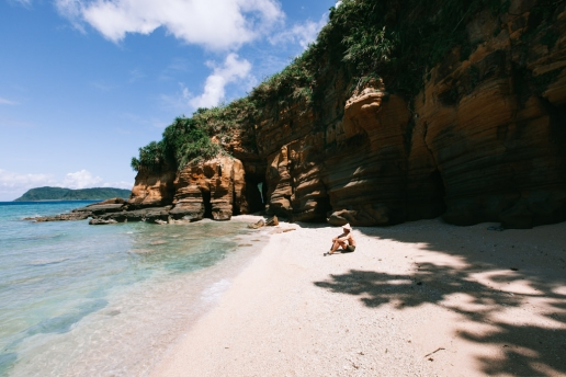 Hidden secluded beach on Iriomote Island, Okinawa, Japan