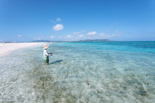 Coral sand cay fishing in Tropical Japan, Kume-jima, Okinawa