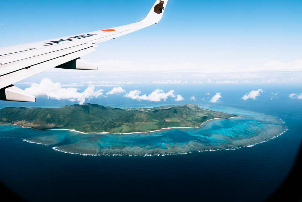 Aerial view of Ishigaki Island with coral reefs and tropical water of Southern Japan, Okinawa