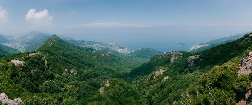Lush green landscape of Shodoshima from above, Seto Inland Sea, Japan