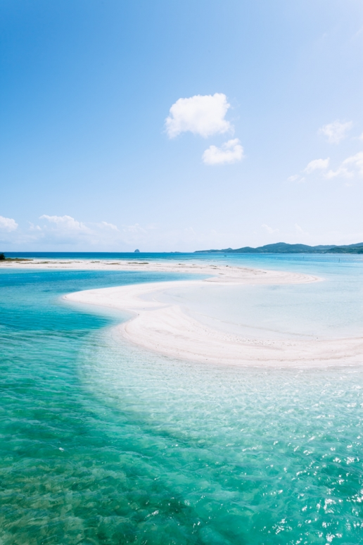 Scenic beach of Tropical Japan with clear blue water, Kume Island, Okinawa