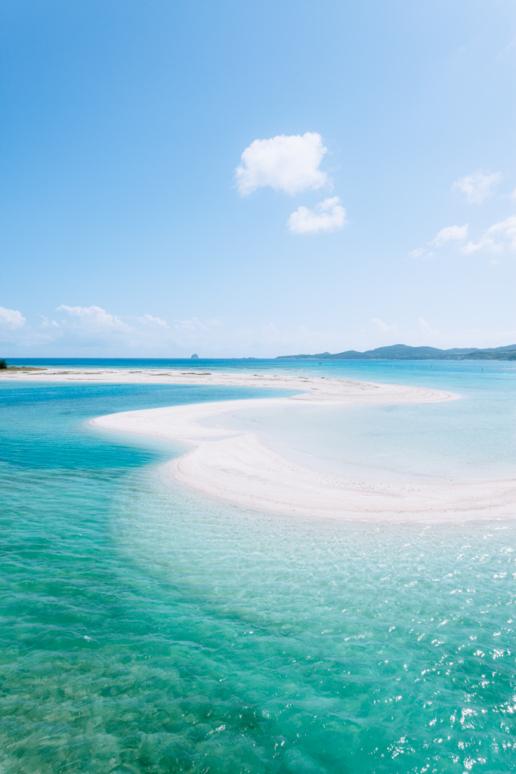 Scenic beach of Tropical Japan with clear blue water, Kume Island, Okinawa